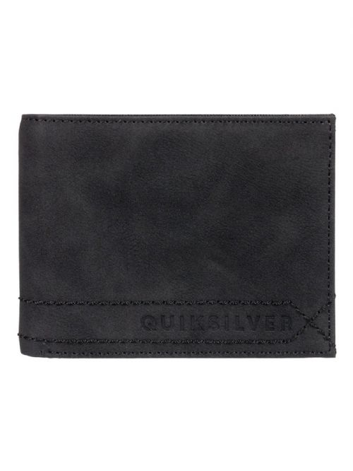 QUIKSILVER MENS WALLET.NEW STITCHY FAUX LEATHER BLACK MONEY CARD PURSE 9S 75 KVJ